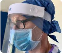 Full Face Plastic Visor with latex-free foam headband anti-mist clear visor screen and elasicated closure Pk 10
